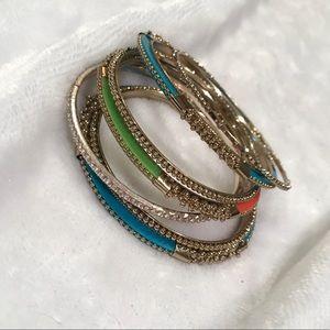 Jewelry - Gold BOHO inspired bangles Lot of 7 Bracelets NWOT